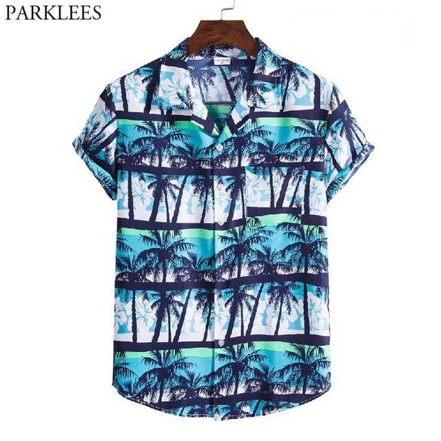 [해외] 2021 여름 새 하와이 알로하 셔츠 남성 짧은 소매 코