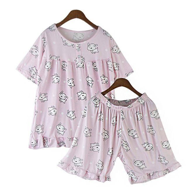 W 여성 홈웨어 여름 여자 잠옷 세트 반팔 반바지 홈웨어