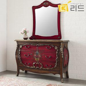 칸투 마호가니원목 엔틱 와이드 3단서랍장+거울