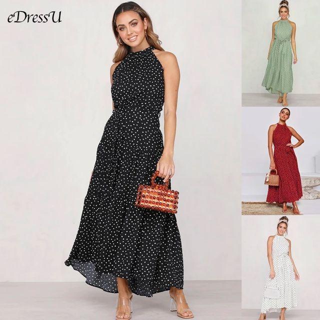 [해외] 2020 여성 여름 드레스 폴카 도트 긴 드레스 달콤한