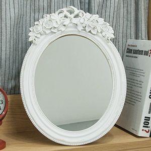 8033 화이트 장미 원형 거울
