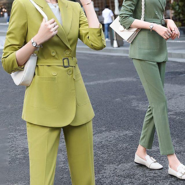 [해외] 여성 패션 재킷 자켓 정장세트 대통령 바지 가을