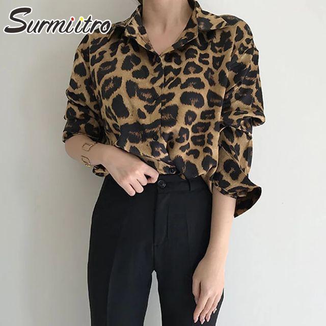 [해외] SURMIITRO 빈티지 레오파드 셔츠 여성 2021 봄 가을