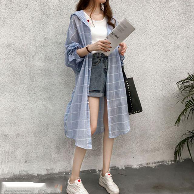 W 베이직 디자인 여자 데일리 외출 패션 롱 캐주얼 셔츠