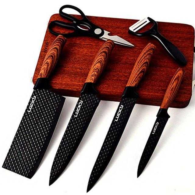 W 주방용 식도 과도 중식칼 가위 논슬립 칼 세트 6종