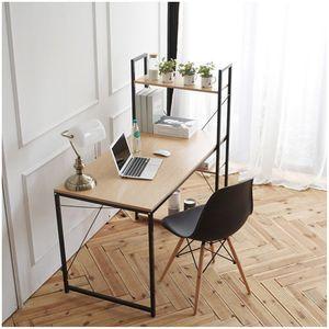 철제원목 컴퓨터책상120 책장겸선반 공간활용 책상