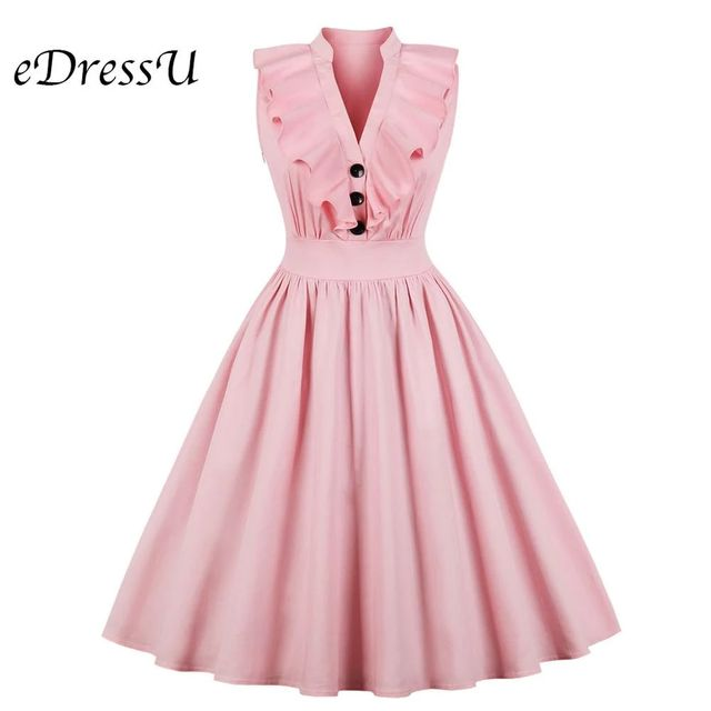 [해외] 핑크 빈티지 드레스 1950 s ruffled falbala 여름 드