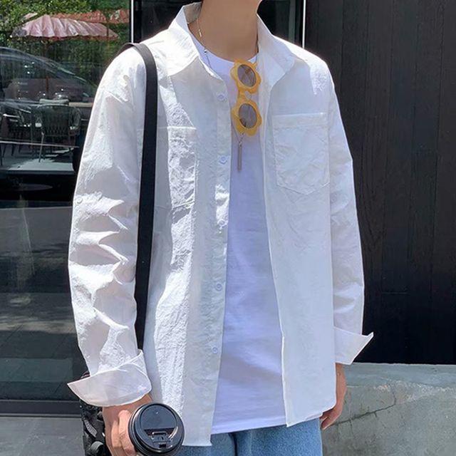 W 남성 가벼운 내츄럴핏 레터링 포인트 롤업 남방 셔츠