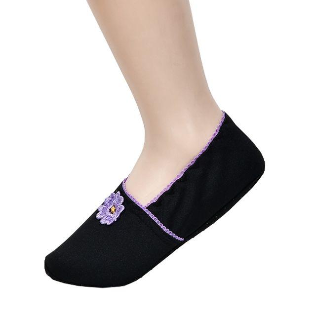 크로바 카니발 발등 꽃자수 플라워 디자인 숙녀 덧신