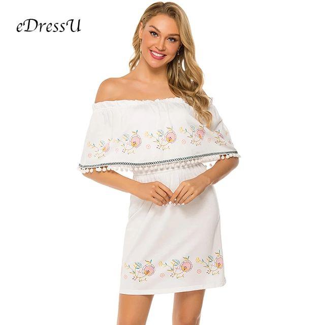 [해외] 세련된 흰색 여름 드레스 자수 오프 어깨 드레스 위의