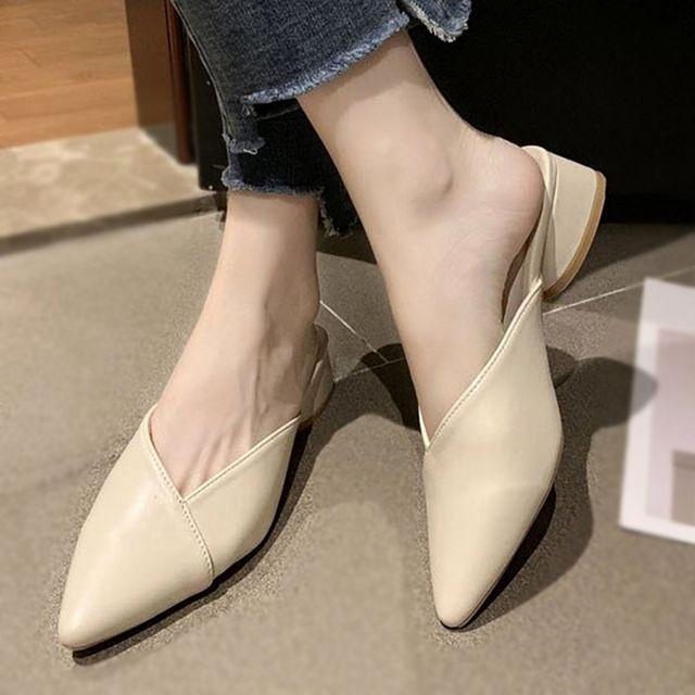 W 사선 디자인 사무실 매장 편한 여자 신발 블로퍼