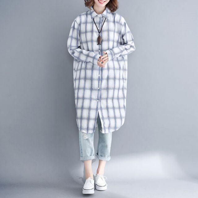 W 여성 봄 간절기 화이트 블루 체크 박시핏 롱 셔츠