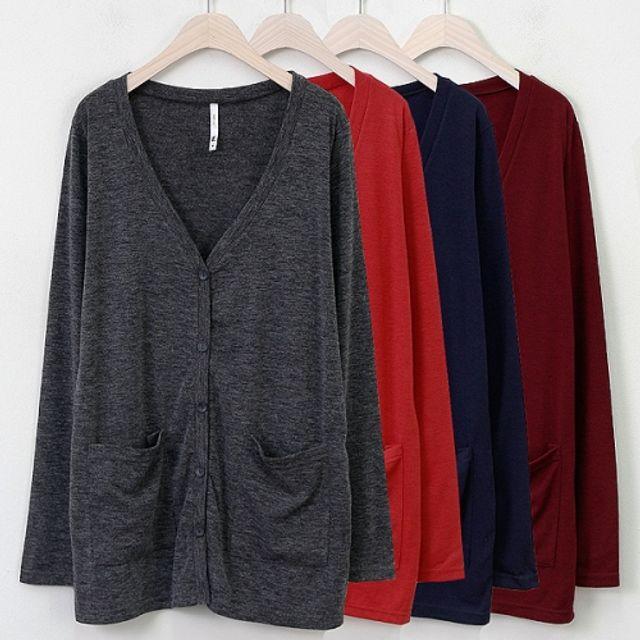 프리롱 가디건 봄 가을 베이직 포켓 패션 재킷