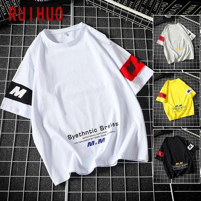 [해외] RUIHUO 하프 슬리브 빈티지 T 셔츠 남성 의류 하라주
