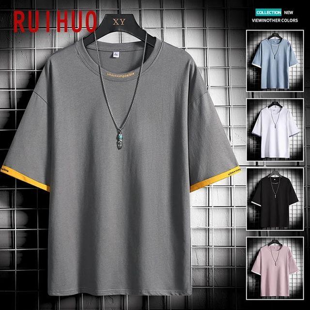 [해외] RUIHUO 남성용 캐주얼 코튼 T 셔츠 남성용 캐주얼 셔