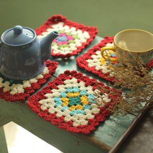 스칸디나비아 뜨개질 주전자 컵 세트 받침