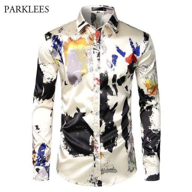 [해외] 인쇄 된 실크 망 셔츠 튀는 잉크 남자 드레스 셔츠 파
