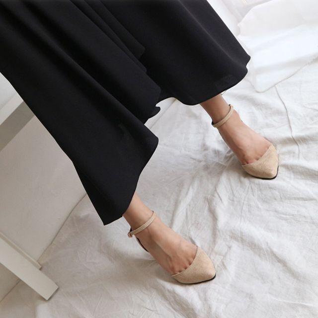빅사이즈 여성 스트랩힐 펌프스힐 데이트 구두 신발