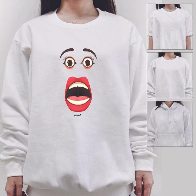 W 키밍 frighten 여성 남성 티셔츠 후드 맨투맨 반팔