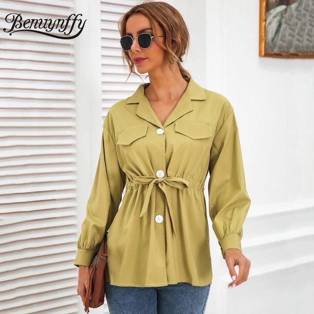 [해외] Benuynffy 노치 넥 보우 타이 허리 버튼 여성 셔츠 20