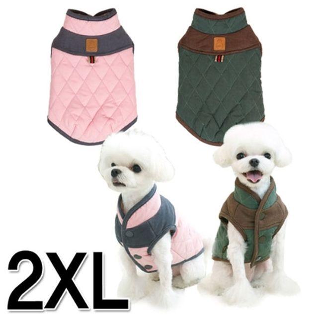 아이엠독 스코티쉬 패딩 2XL 핑크색 강아지옷