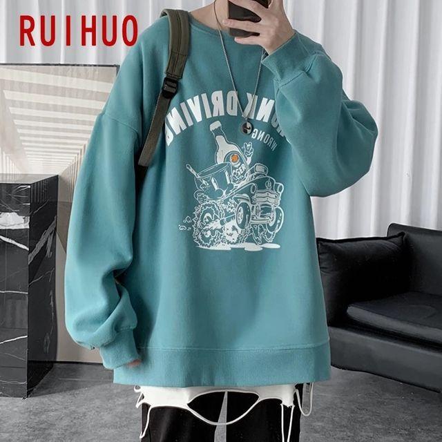 [해외] RUIHUO 프린트 캐주얼 셔츠 남성 의류 하라주쿠 Stree