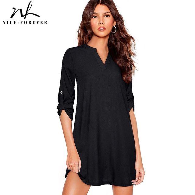 [해외] 니스-영원히 2021 여름 여성 솔리드 컬러 짧은 드레스