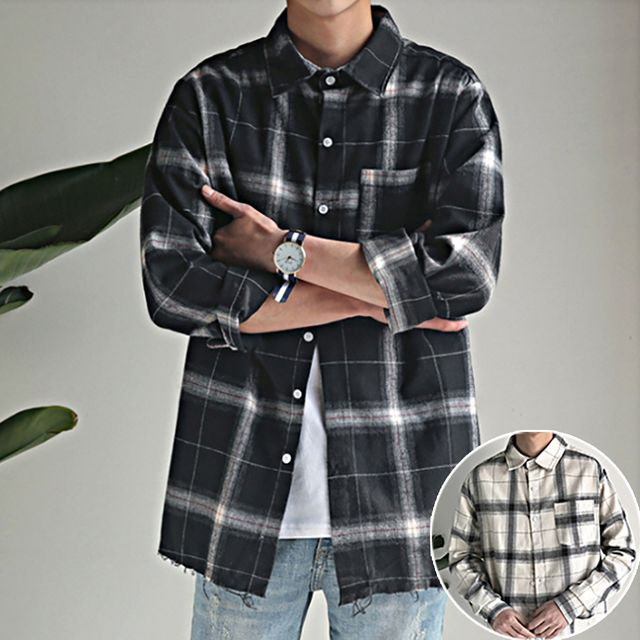 W 남성 깔끔한 학생 직장인 루즈칫 체크남방 셔츠 기본