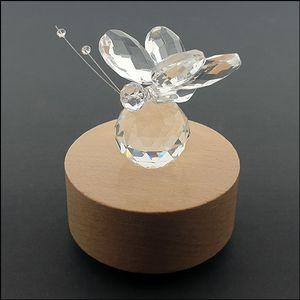 둥근 태엽 뮤직박스 춤추는 크리스탈 나비