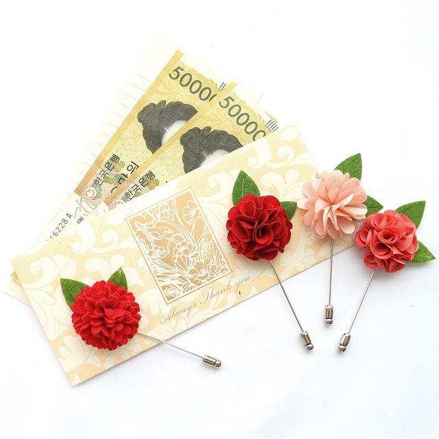 샬몬 카네이션 부토니에 브로치 + 용돈봉투 + 카드 세트