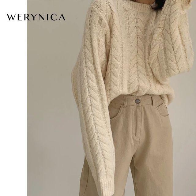 [해외] Werynica 한국어 패션 숙녀 전체 슬리브 여성 뜨개질