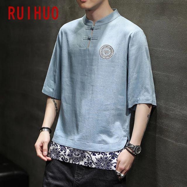 [해외] RUIHUO 패치 워크 빈티지 T 셔츠 남성 의류 일본 Stre