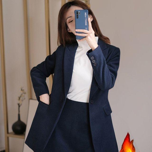 [해외] 여성 패션 자켓 정장세트장 블루 모직 코트