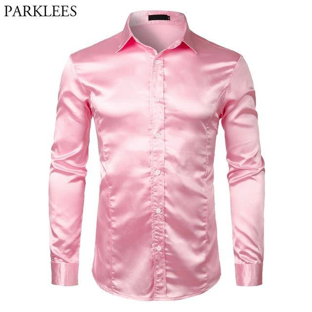 [해외] 핑크 실크 새틴 럭셔리 드레스 셔츠 남자 2018 브랜드