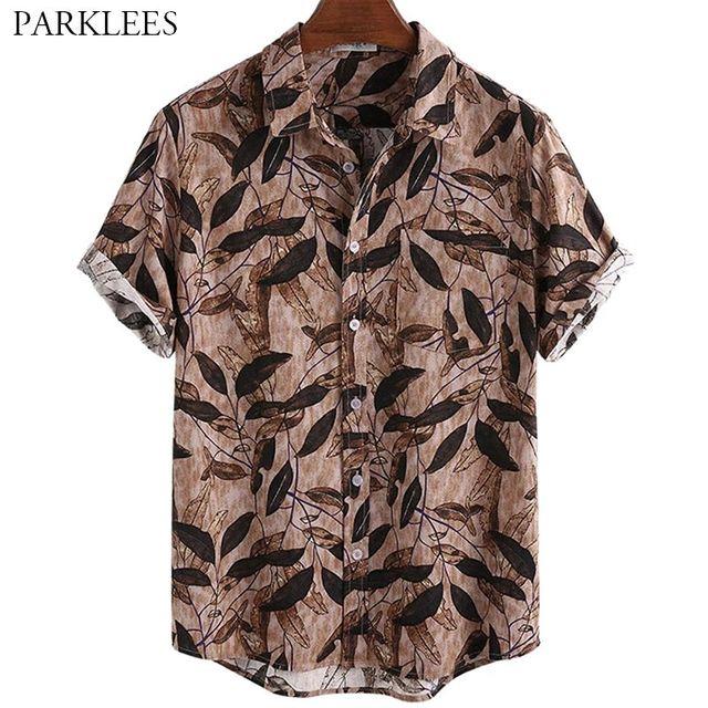 [해외] 레트로 리프 인쇄 남자 셔츠 하와이 비치 휴일 여름