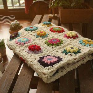 스칸디나비아 뜨개질 테이블 커버 H형