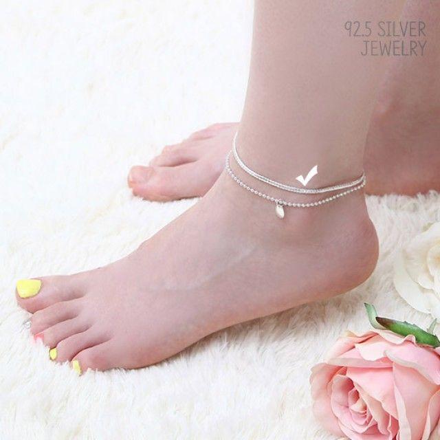 【韩国直邮】92.5Silver银色链式脚链