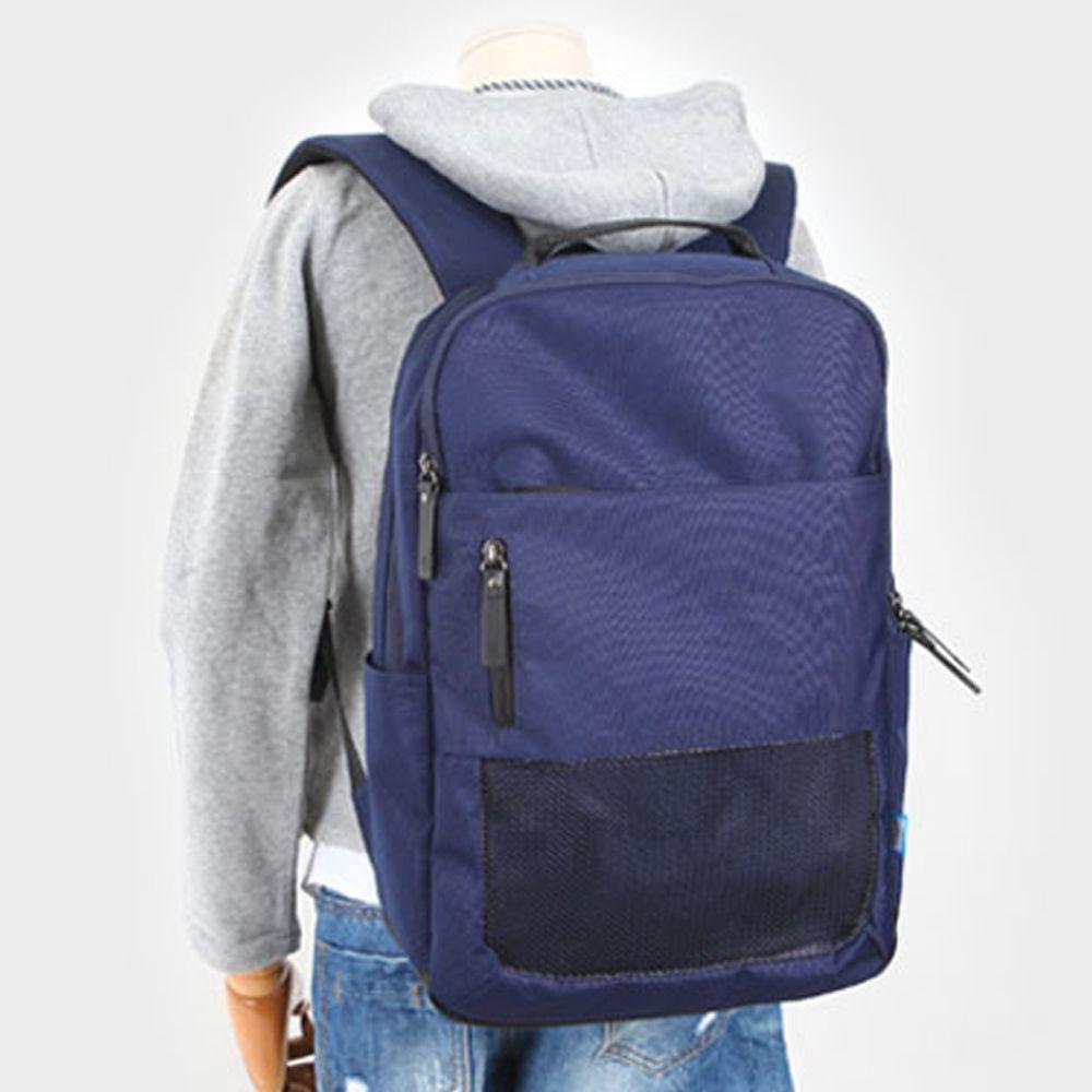 학생 망사 가방 캔버스 학교 교복 코디 백팩 네이비