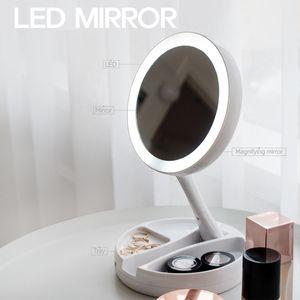 LED 조명 화장대 거울 접이식 화장품수납함