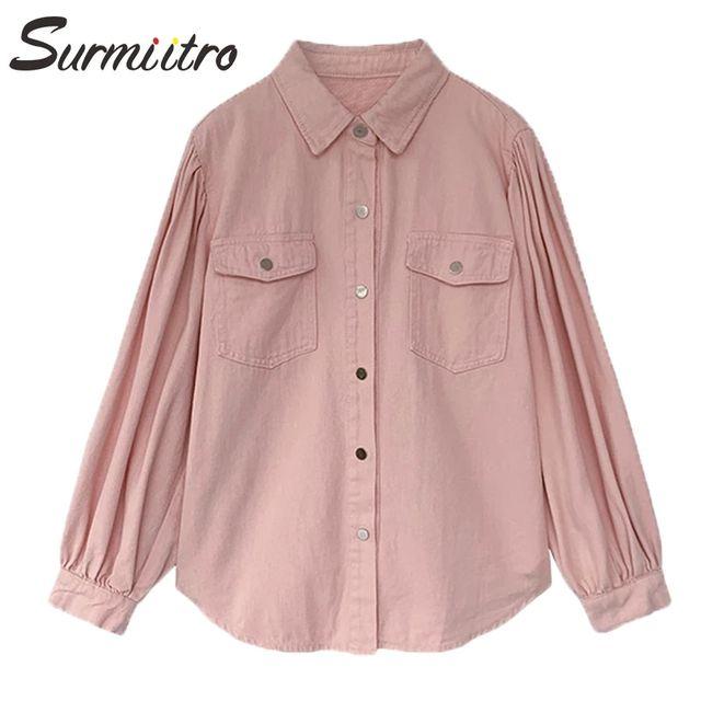 [해외] SURMIITRO 데님 셔츠 여성 2021 봄 가을 긴 소매 한국