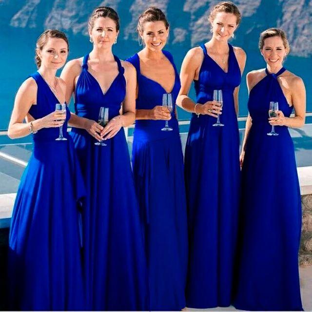 [해외] 컨버터블 신부 들러리 롱 드레스 a 라인 블루 파티 드