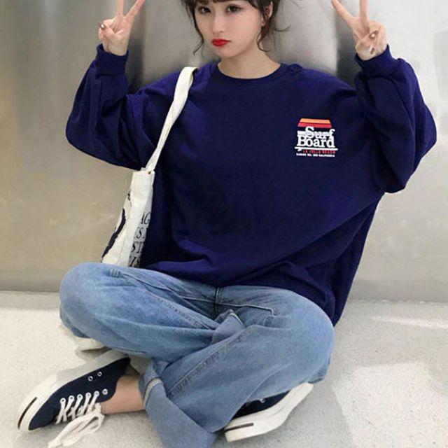 W 캐주얼 여자 외출 패션 오버핏 맨투맨 라운드 티셔츠