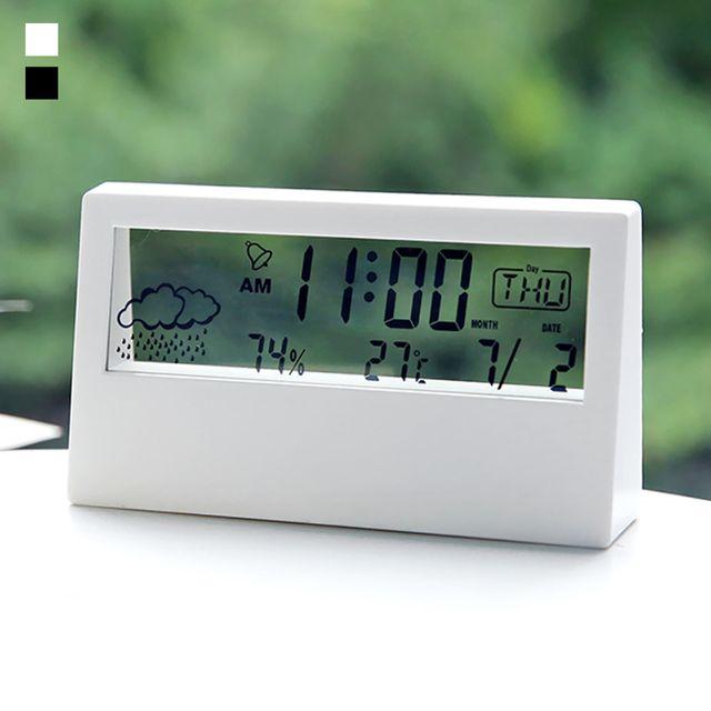 W 키밍 무소음 LED 날씨 온습도계 전자 탁상 시계