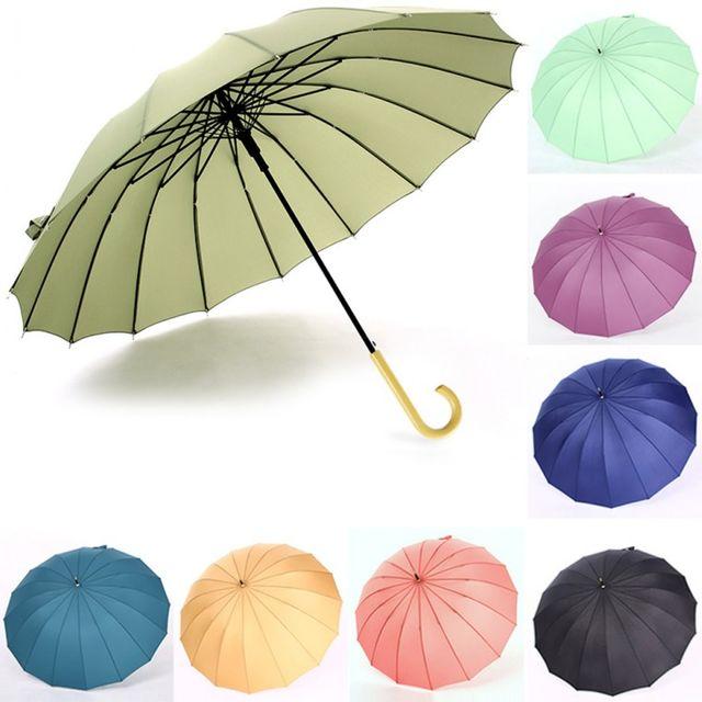 W 나무손잡이 복고풍 16K 방풍 자동 장우산 긴우산 양산