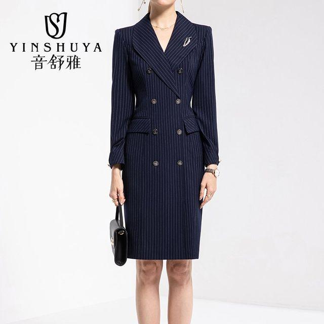 [해외] 여성 패션 재킷 자켓 정장세트 착용 줄무늬 바지