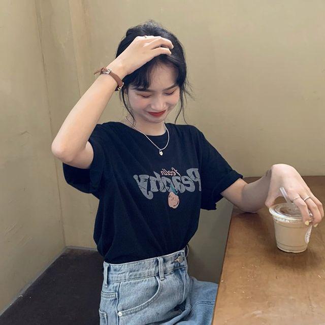 [해외] 여성 티셔츠 캐주얼 학생 검은 셔츠 탑