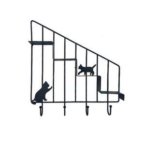 빈티지 인테리어 후크 고양이 미니 계단 선반(블랙)