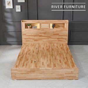 (리버퍼니쳐) 에반 고무나무원목 LED 수납형 침대 Q