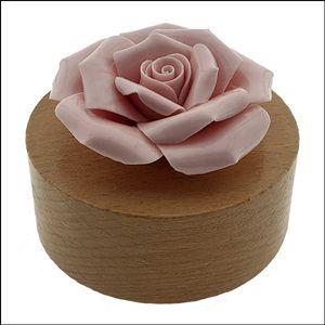 둥근 태엽 뮤직박스 분홍장미