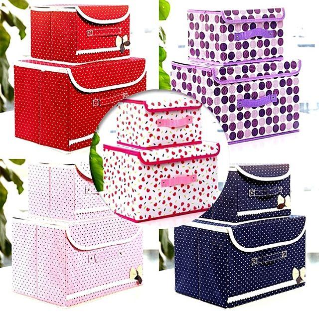 [AHGHJB] 접이식 수납박스 2개 세트 귀여운 스타일 미니멀한 접이식 수납박스 옷 정리 아이들 장난감 정리 용 접이식 수납박스